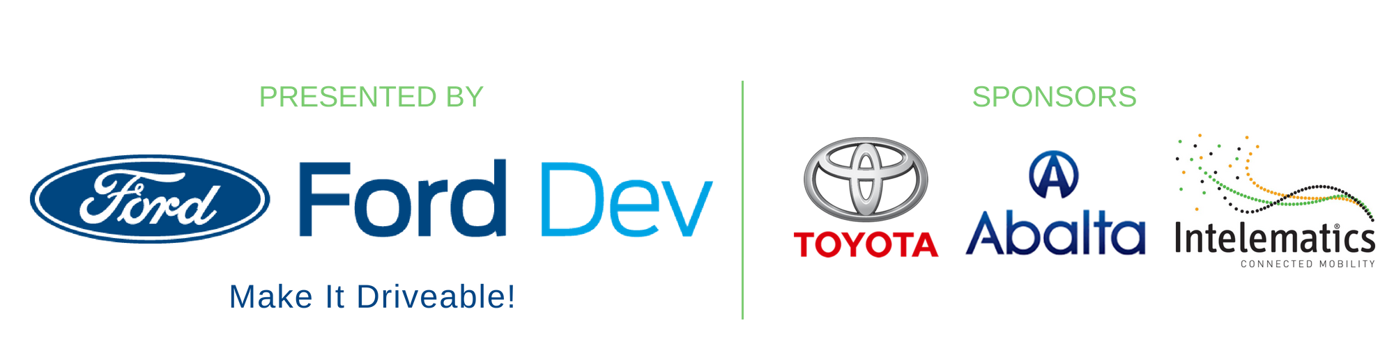 Presented by Ford Dev, sponsored by Toyota, Abalta, and Intelematics